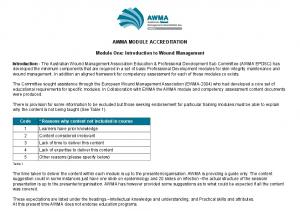 AWMA MODULE ACCREDITATION. Module One: Introduction to Wound Management