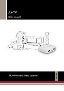 AX-TV. User manual. HDMI Wireless video decoder ENGLISH