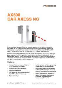 AX500 CAR AXESS NG. Features