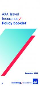 AXA Travel Insurance Policy booklet