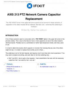 AXIS 213 PTZ Network Camera Capacitor Replacement
