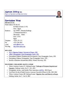 Ayman Zohry, PhD. Curriculum Vitae
