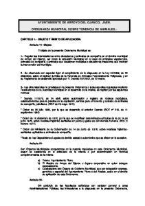 AYUNTAMIENTO DE ARROYO DEL OJANCO, JAEN. ORDENANZA MUNICIPAL SOBRE TENENCIA DE ANIMALES.-