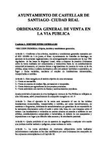AYUNTAMIENTO DE CASTELLAR DE SANTIAGO- CIUDAD REAL ORDENANZA GENERAL DE VENTA EN LA VIA PUBLICA