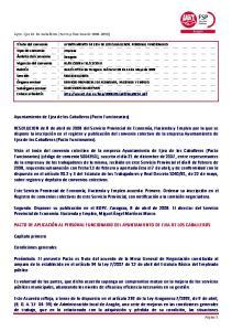 AYUNTAMIENTO DE EJEA DE LOS CABALLEROS. PERSONAL FUNCIONARIO Empresa Zaragoza