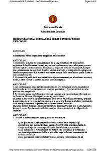 Ayuntamiento de Valladolid - Contribuciones Especiales. Ordenanzas Fiscales. Contribuciones Especiales