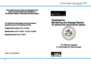 Azathioprine. Monitoring and Dosage Record. For patients with neuromuscular disease