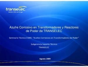 Azufre Corrosivo en Transformadores y Reactores de Poder de TRANSELEC