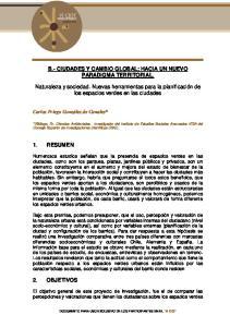 B.- CIUDADES Y CAMBIO GLOBAL; HACIA UN NUEVO PARADIGMA TERRITORIAL
