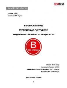 B CORPORATIONS: EVOLUTION OF CAPITALISM?