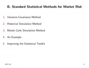 B. Standard Statistical Methods for Market Risk