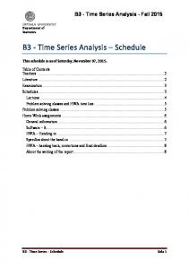 B3 - Time Series Analysis Schedule