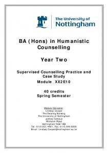 BA (Hons) in Humanistic Counselling. Year Two