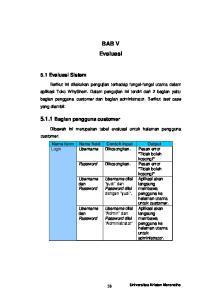 BAB V Evaluasi. Dibawah ini merupakan tabel evaluasi untuk halaman pengguna