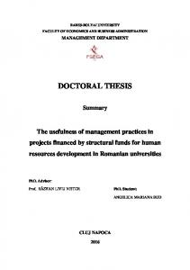 BABES-BOLYAI UNVIERSITY FACULTY OF ECONOMICS AND BUSINESS ADMINISTRATION MANAGEMENT DEPARTMENT DOCTORAL THESIS. Summary