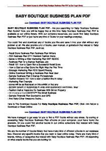 BABY BOUTIQUE BUSINESS PLAN PDF
