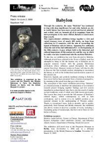 Babylon. Press release. March 14 June 2, 2008 Napoleon Hall