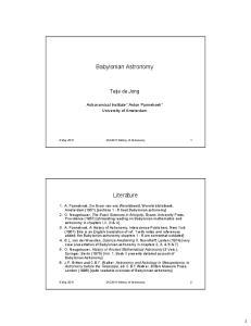 Babylonian Astronomy. Literature