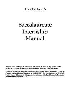 Baccalaureate Internship Manual