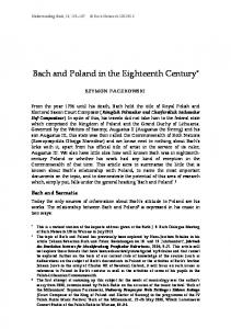 Bach and Poland in the Eighteenth Century *