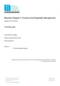 Bachelor Degree in Tourism and Hospitality Management