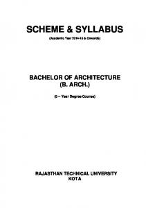 BACHELOR OF ARCHITECTURE (B. ARCH.)
