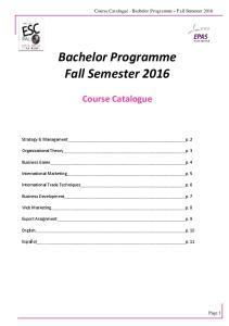 Bachelor Programme Fall Semester 2016