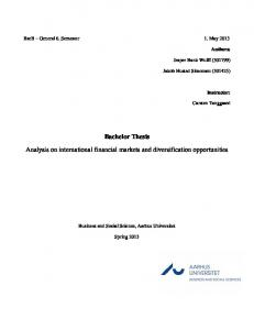 Bachelor Thesis Analysis on international financial markets and diversification opportunities