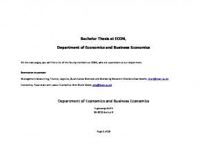 Bachelor Thesis at ECON, Department of Economics and Business Economics