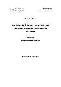 Bachelor Thesis. Prinzipien der Übersetzung von Inhalten deutscher Webseiten in chinesische Webseiten