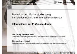 Bachelor- und Masterstudiengang Immobilientechnik und Immobilienwirtschaft