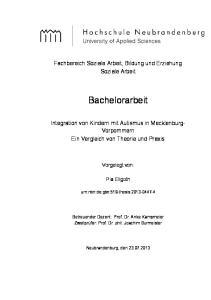 Bachelorarbeit. Fachbereich Soziale Arbeit, Bildung und Erziehung Soziale Arbeit