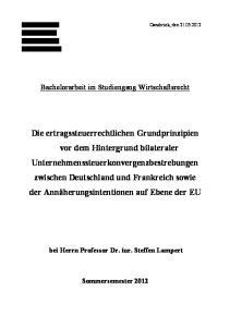 Bachelorarbeit im Studiengang Wirtschaftsrecht