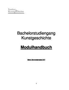 Bachelorstudiengang Kunstgeschichte. Modulhandbuch