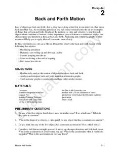 Back and Forth Motion. Evaluation copy