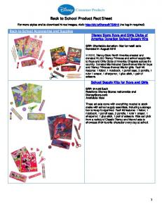 Back to School Product Fact Sheet