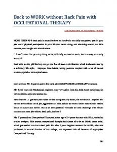 Back to WORK without Back Pain with OCCUPATIONAL THERAPY