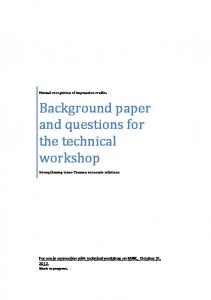Background paper and questions for the technical workshop