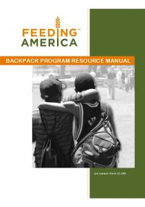 BACKPACK PROGRAM RESOURCE MANUAL