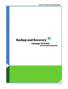 Backup and Recovery Exchange 2010 DAG By Francis Sabarinath [frasa03]