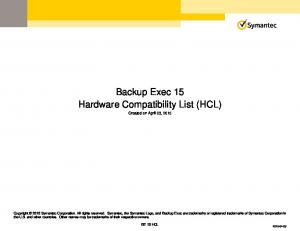 Backup Exec 15 Hardware Compatibility List (HCL)