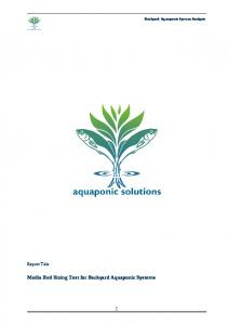 Backyard Aquaponic System Analysis. Report Title: Media Bed Sizing Test for Backyard Aquaponic Systems