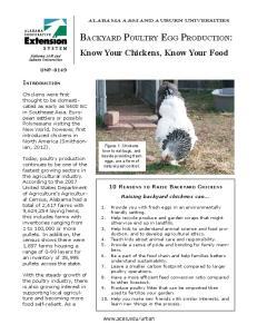 Backyard Poultry Egg Production: