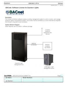 BACnet Software License for Quantum Lights