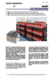 BACS - Battery Analysis & Care System 3 rd Generation Battery Management System
