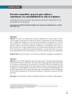 Bacterias anaerobias: procesos que realizan y contribuyen a la sostenibilidad de la vida en el planeta