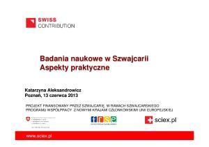 Badania naukowe w Szwajcarii Aspekty praktyczne