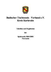 Badischer Tischtennis - Verband e.v. Kreis Karlsruhe