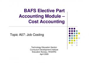 BAFS Elective Part Accounting Module Cost Accounting
