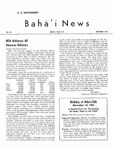 Baha'i News. NSA Addresses All American Believers. Birthday of Bahai'u'llih November 12, 1962 U. S. SUPPLEMENT - 27,187